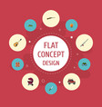 flat icons weapon music fishing and other vector image vector image