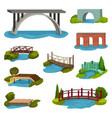 flat set of different bridges wooden vector image vector image