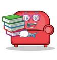 geek red sofa character cartoon vector image