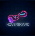 glowing neon sign self-balancing hoverboard vector image