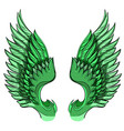 green wings isolated on white background design vector image vector image