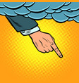 hand points out cloud vector image vector image
