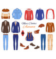 male fashion set clothes and accessories vector image