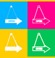 open sign four styles of icon on vector image