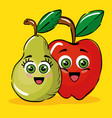 pear and apple fruits comic characters vector image vector image