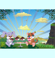 picture - kitten and rabbit with ice cream vector image vector image