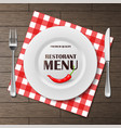 restaurant menu front banner with plate and vector image