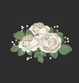 retro bouquet design white roses with leaves and vector image