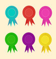 Rosette set badge with ribbons icon vector image