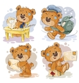 Set clip art of teddy bear gets and vector image vector image