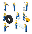 set isometric workers construction workers vector image
