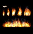 set transparent fire flame vector image vector image