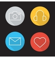 Social media flat linear icons set vector image