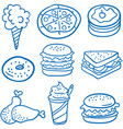 style food various of doodles vector image vector image