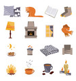 time to hygge flat icons set vector image vector image