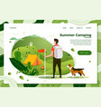 tourist man with dog looking on camp place vector image vector image