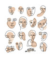 trendy creative set one line continuous face of vector image vector image