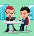 Two Businessmen Cartoon Character Meeting vector image