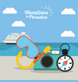 vacations in paradise - equipment travel vector image vector image