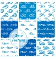 Waves water splashes seamless patterns set vector image vector image