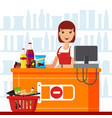 woman cashier in supermarket with snack products vector image vector image