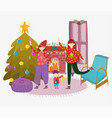 women and little boy living room with tree merry vector image vector image