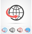 Trendy globe with arrow colorful and black icon vector image