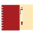 red diary personal organizer with pen and sheet vector image