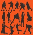 Basketball Silhouette Action Collection Set vector image