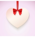 Heart with red bow hanging not tape vector image