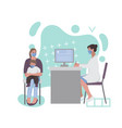 a woman with a child at a doctor appointment vector image vector image