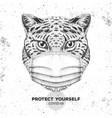 animal cheetah wearing face medical mask covid-19