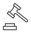 auction line icon justice and law hammer sign vector image vector image