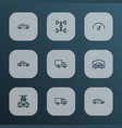 automobile icons line style set with truck garage vector image vector image