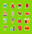 barbecue food stickers vector image