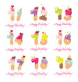 birthday card set festive sweet numbers from 71 vector image vector image
