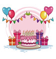 birthday gifts and cake with balloons vector image vector image