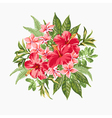 bouquet tropical flowers and leaves vector image