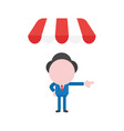 businessman character under shop store awning and vector image vector image
