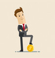 businessman standing with gold coin vector image vector image