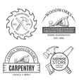 carpentry works line art set with logo vector image vector image