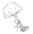 cartoon man carrying big tree to plant it vector image vector image