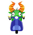 cartoon monster driving a scooter on white vector image vector image
