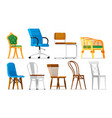 chair set comfortable empty chairs collection vector image