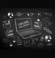 chalk drawn set online education items vector image