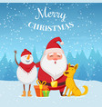 christmas background with funny characters santa vector image vector image