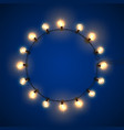 christmas light realistic garland in circle vector image