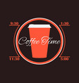 coffee time cup coffee infographics poster vector image