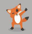 cute fox dub dancing sign vector image vector image