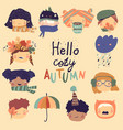 cute kids faces with autumn elements hello autumn vector image vector image